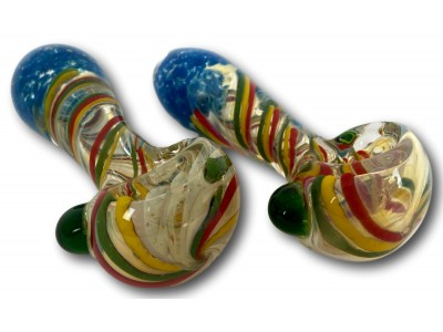 4 IN Mouth Frit with Rasta Art Heavy HandPipe
