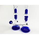 14IN. Spiral Perc Blues Water Pipe #33